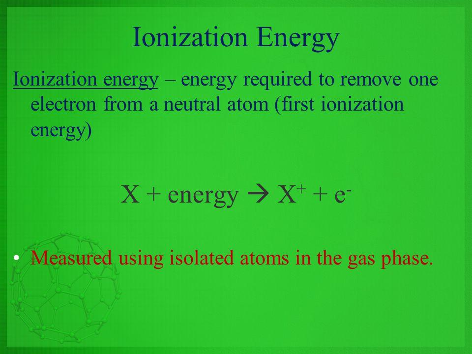 Ionization Energy X + energy  X+ + e-