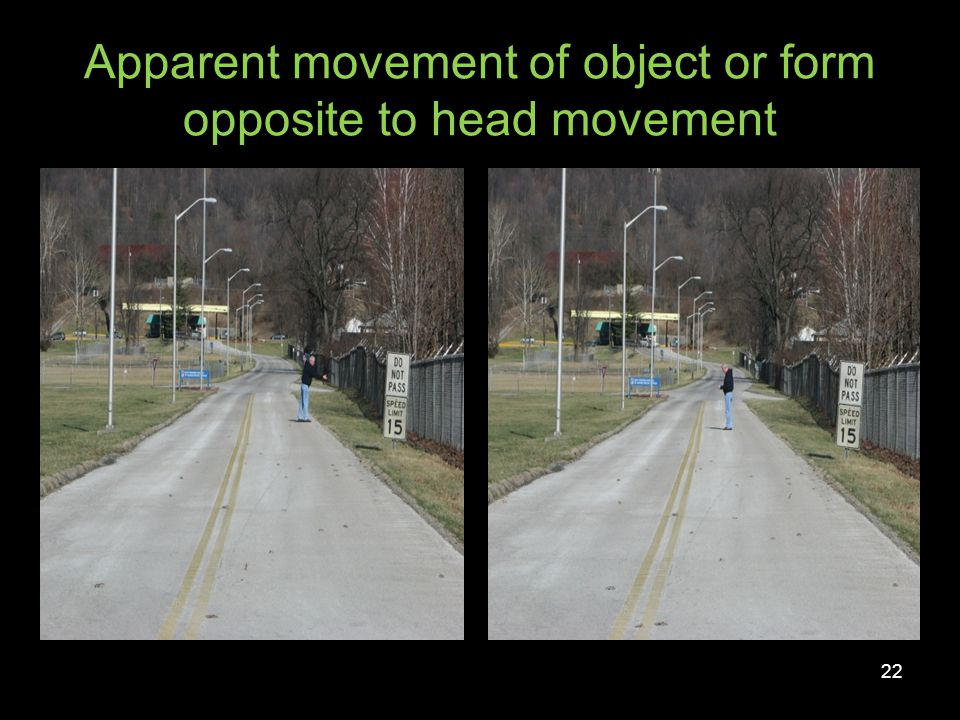 Apparent movement of object or form opposite to head movement