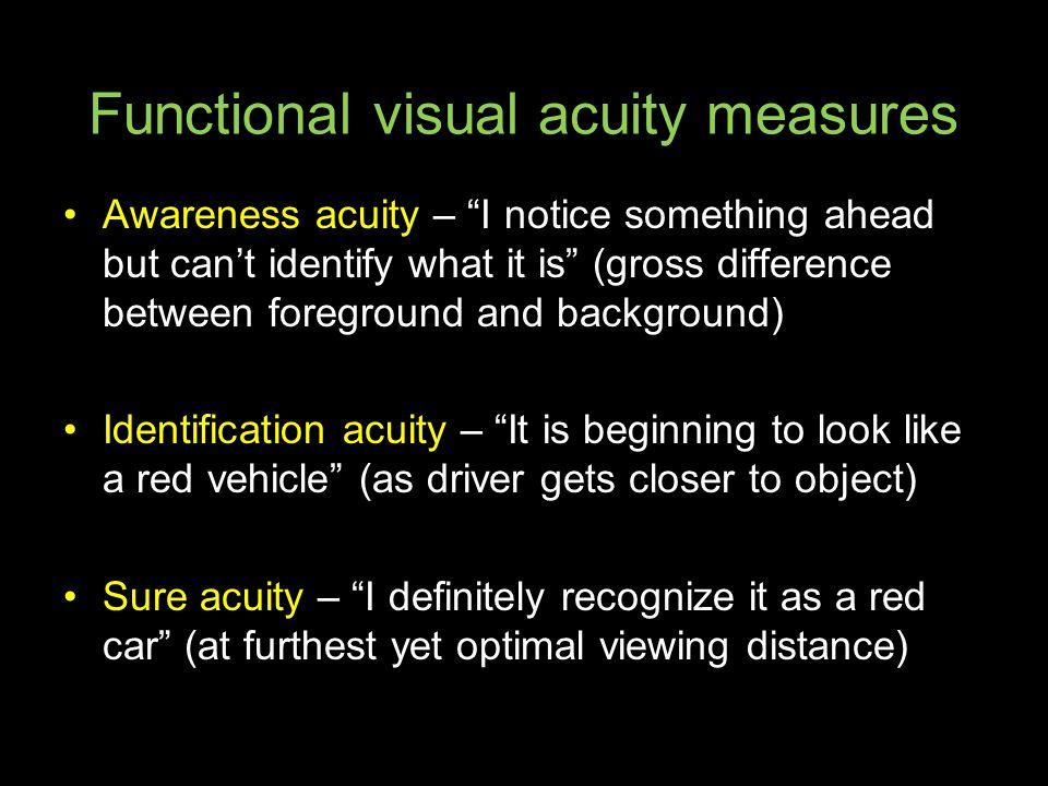 Functional visual acuity measures