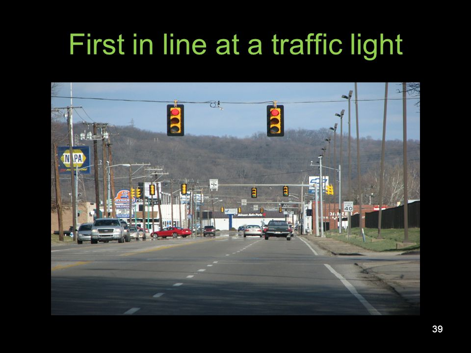 First in line at a traffic light