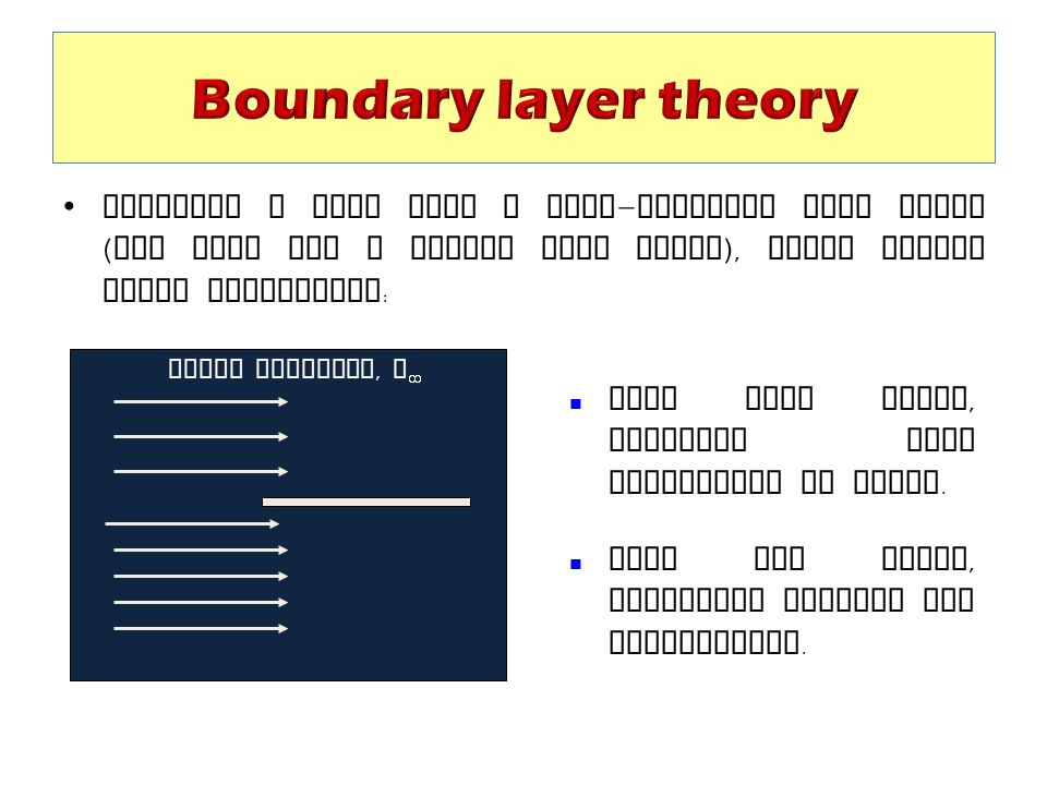 Boundary layer theory Consider a flow over a semi-infinite flat plate (and also for a finite flat plate), under steady state conditions: