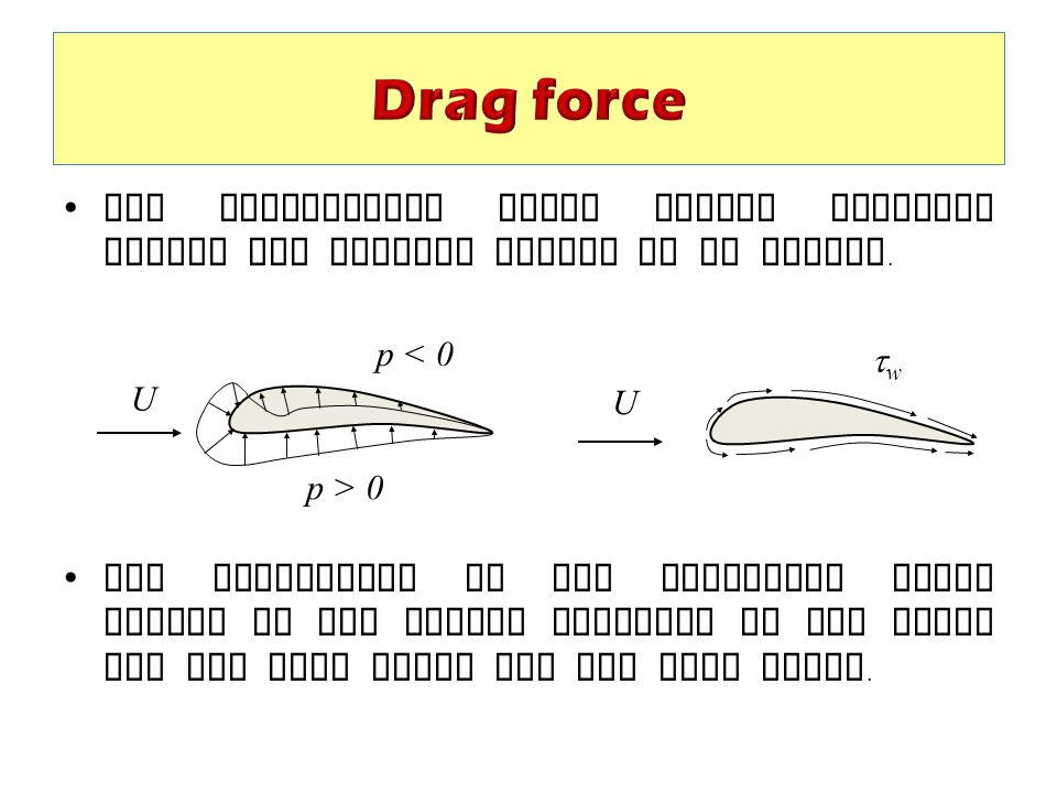 Drag force The surrounding fluid exerts pressure forces and viscous forces on an object.