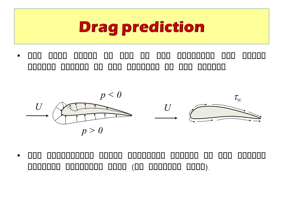 Drag prediction The drag force is due to the pressure and shear forces acting on the surface of the object.