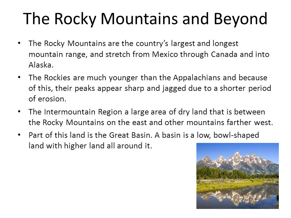 The Rocky Mountains and Beyond