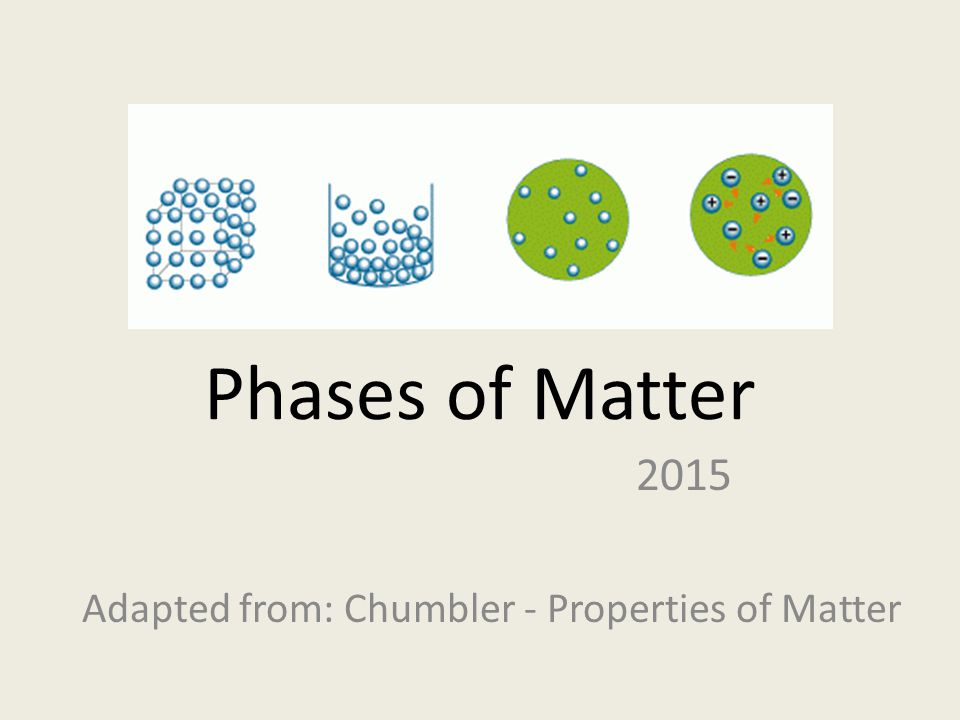 2015 Adapted from: Chumbler - Properties of Matter