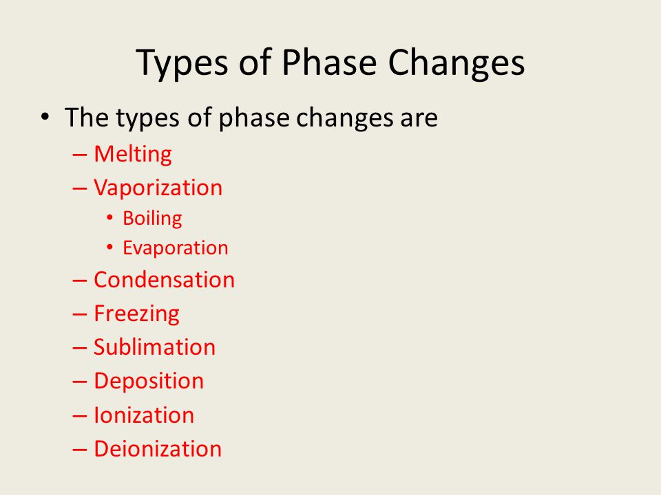 Types of Phase Changes The types of phase changes are Melting