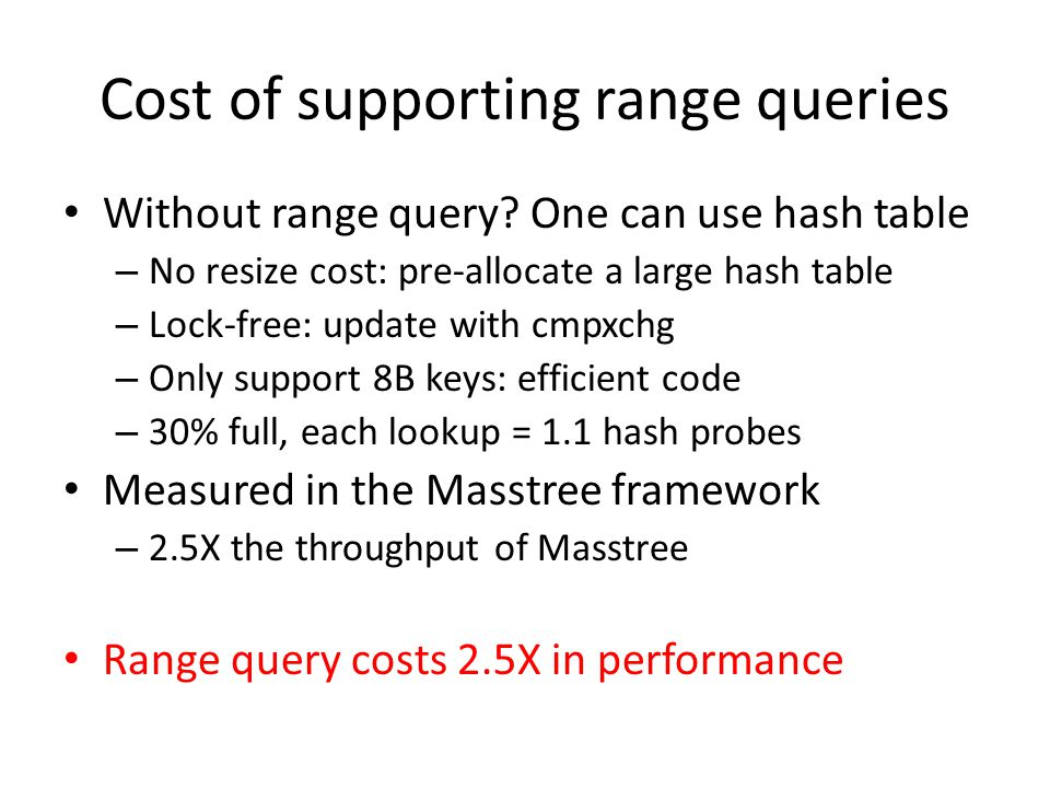 Cost of supporting range queries