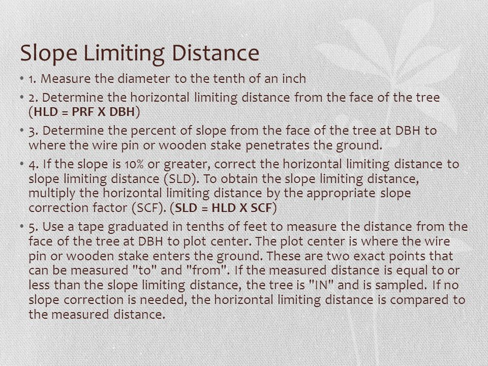 Slope Limiting Distance
