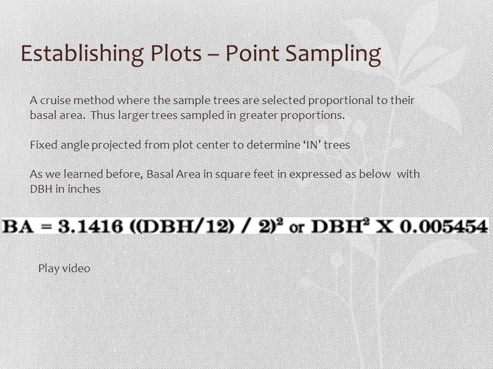 Establishing Plots – Point Sampling
