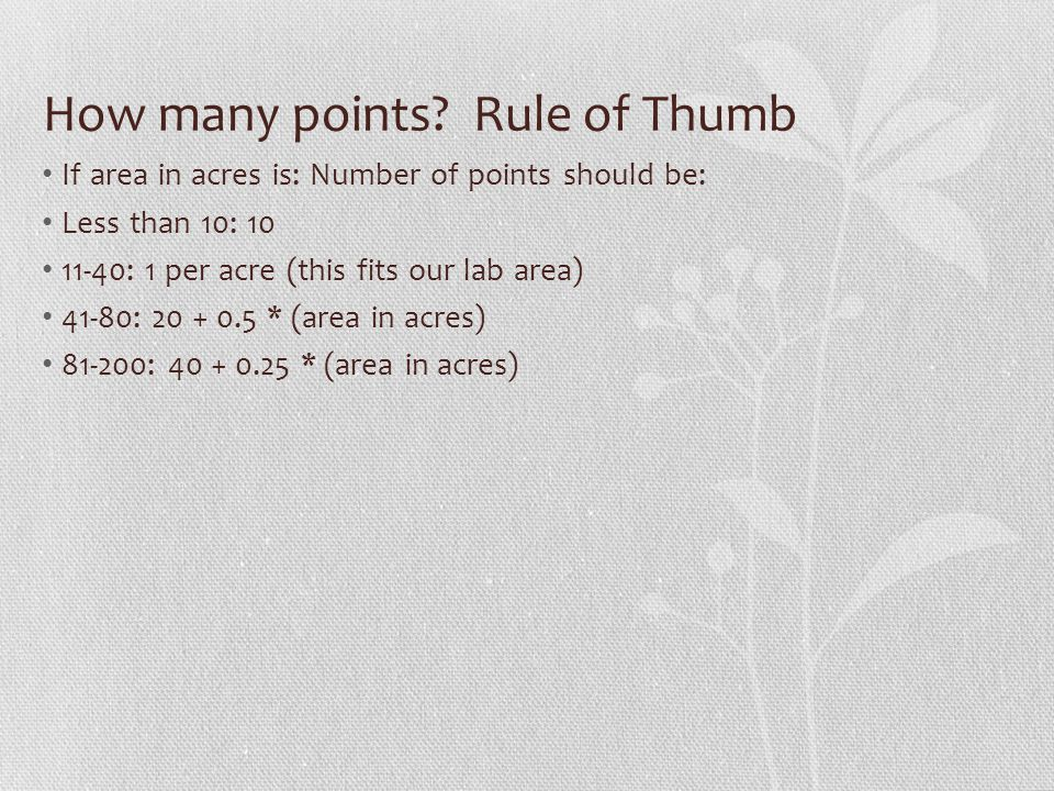 How many points Rule of Thumb