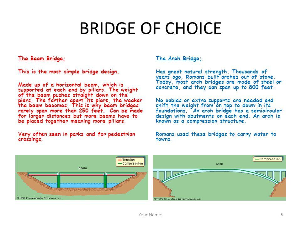 BRIDGE OF CHOICE The Arch Bridge; The Beam Bridge;