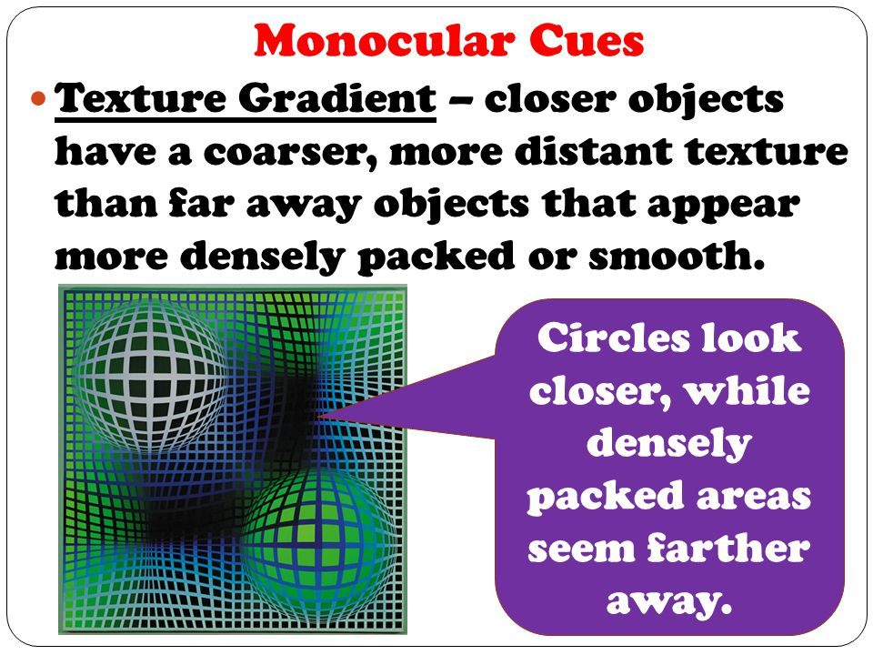 Circles look closer, while densely packed areas seem farther away.