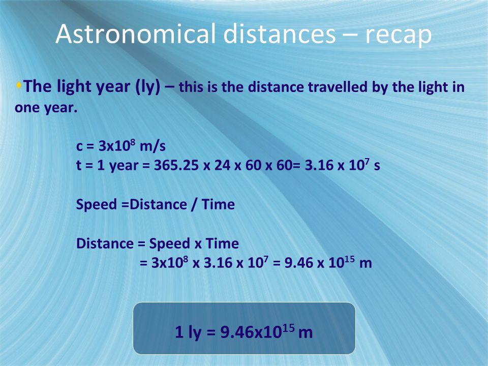 Astronomical distances – recap