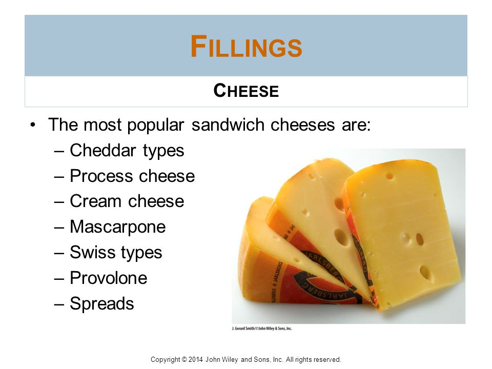 Fillings Cheese The most popular sandwich cheeses are: Cheddar types