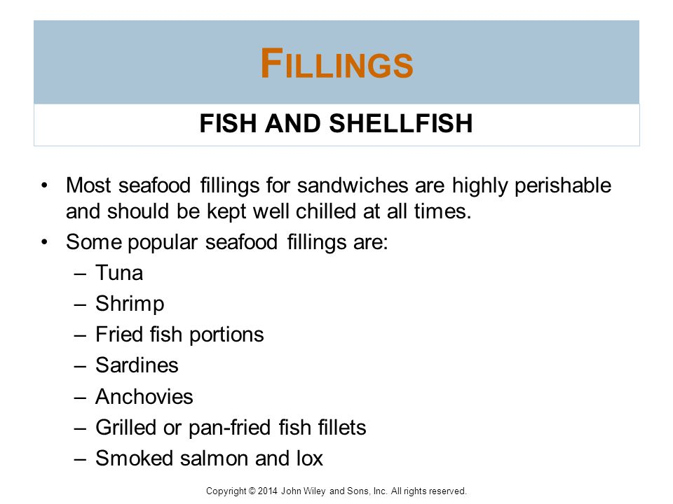 Fillings FISH AND SHELLFISH