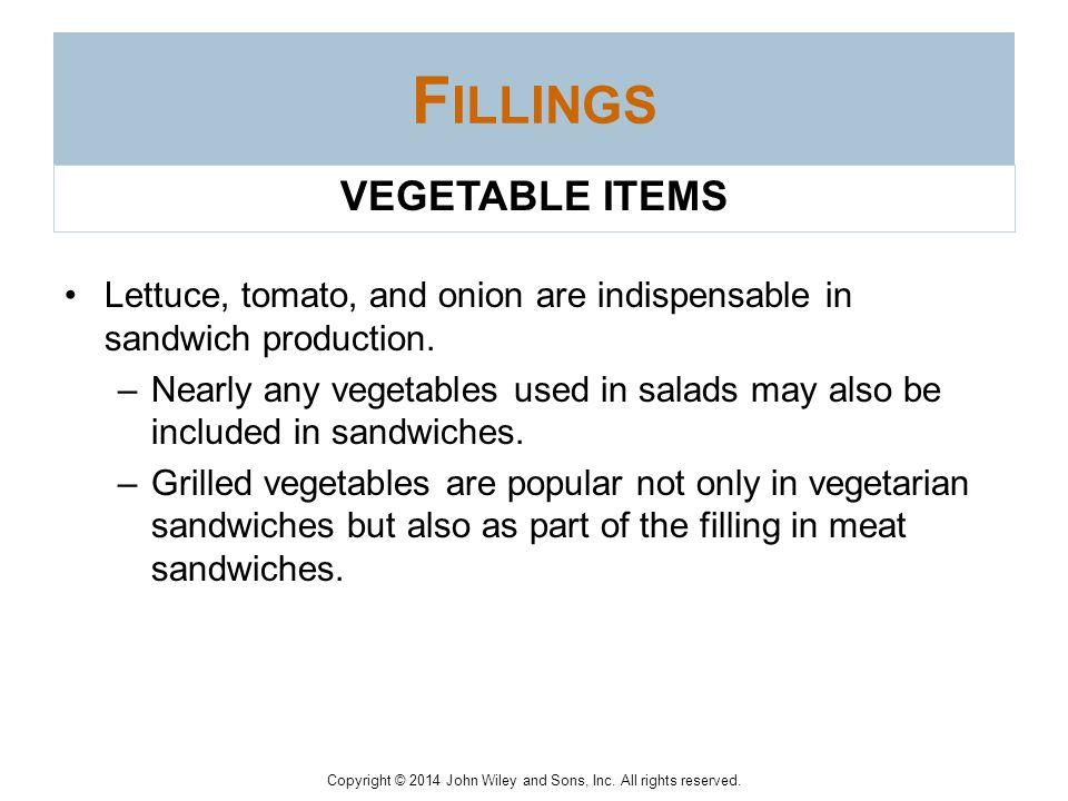 Fillings VEGETABLE ITEMS