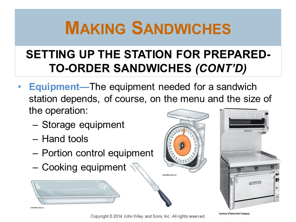 SETTING UP THE STATION FOR PREPARED-TO-ORDER SANDWICHES (CONT'D)