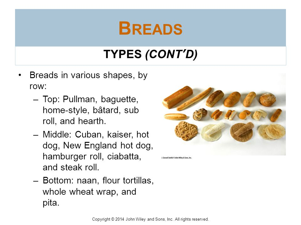 Breads TYPES (CONT'D) Breads in various shapes, by row: