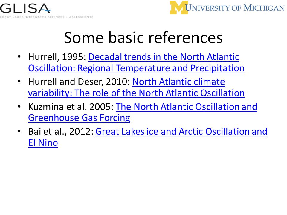 Some basic references Hurrell, 1995: Decadal trends in the North Atlantic Oscillation: Regional Temperature and Precipitation.
