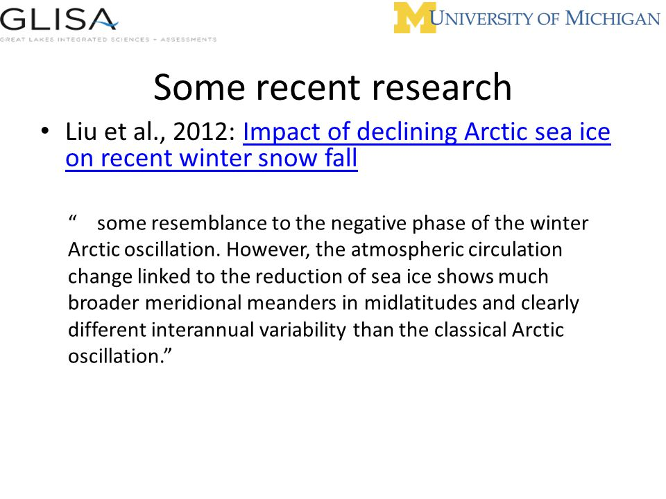Some recent research Liu et al., 2012: Impact of declining Arctic sea ice on recent winter snow fall.