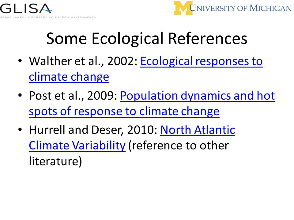 Some Ecological References