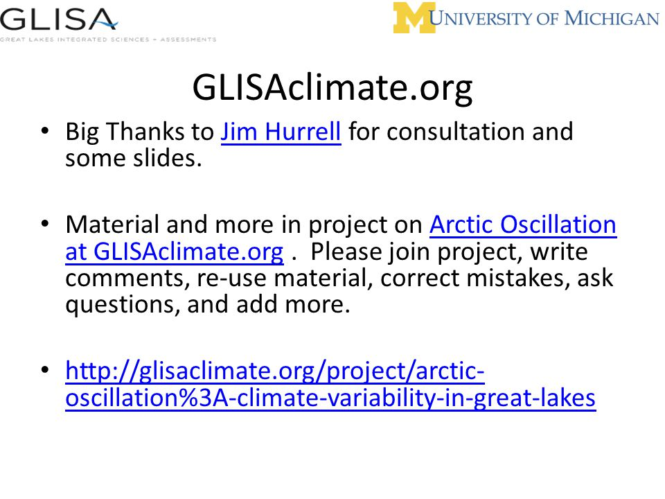 GLISAclimate.org Big Thanks to Jim Hurrell for consultation and some slides.