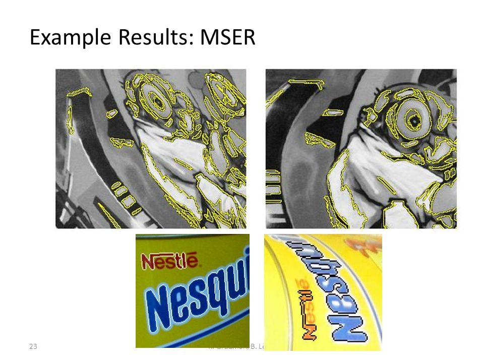 Example Results: MSER K. Grauman, B. Leibe