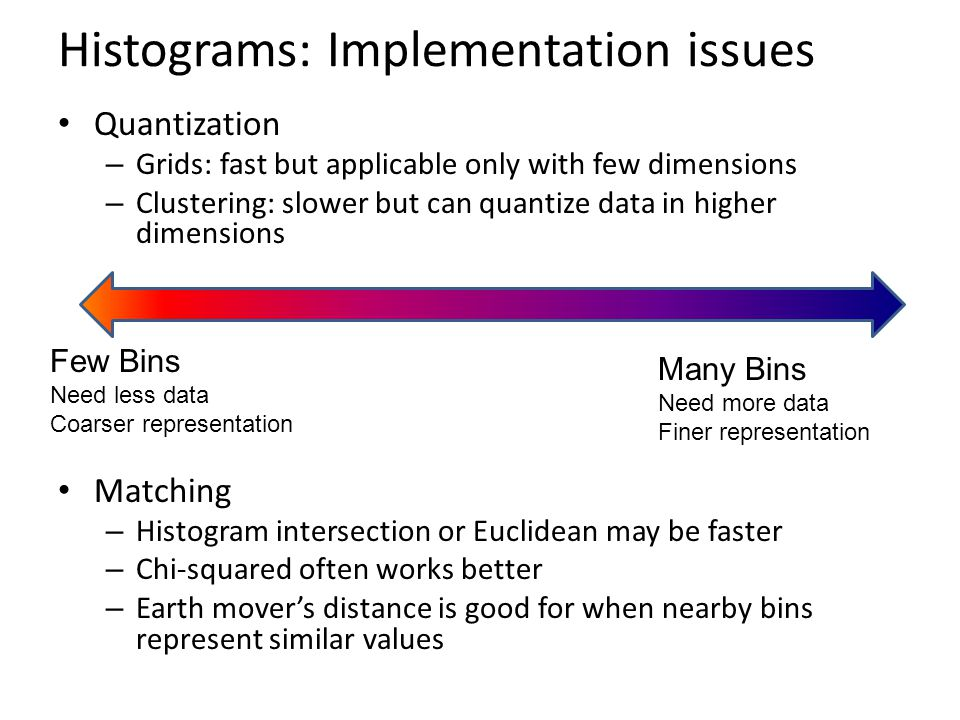 Histograms: Implementation issues