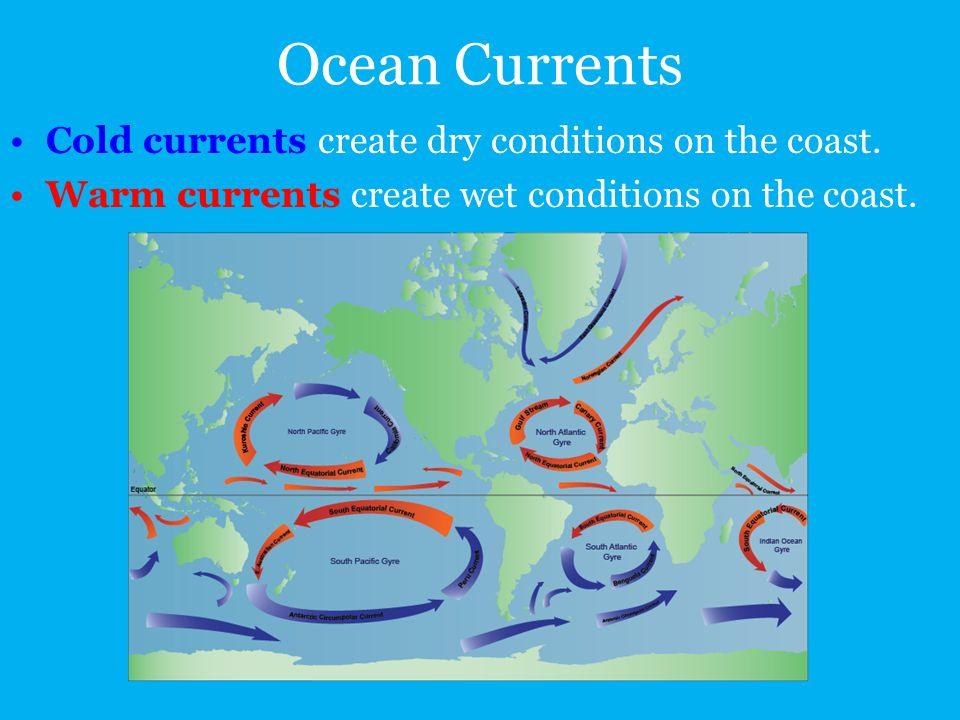 Ocean Currents Cold currents create dry conditions on the coast.