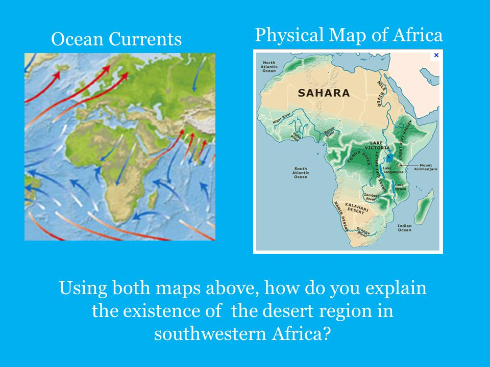 Physical Map of Africa Ocean Currents.