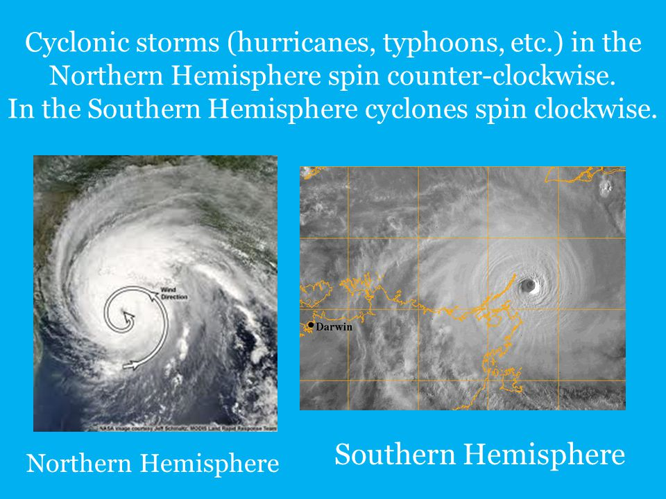 Cyclonic storms (hurricanes, typhoons, etc