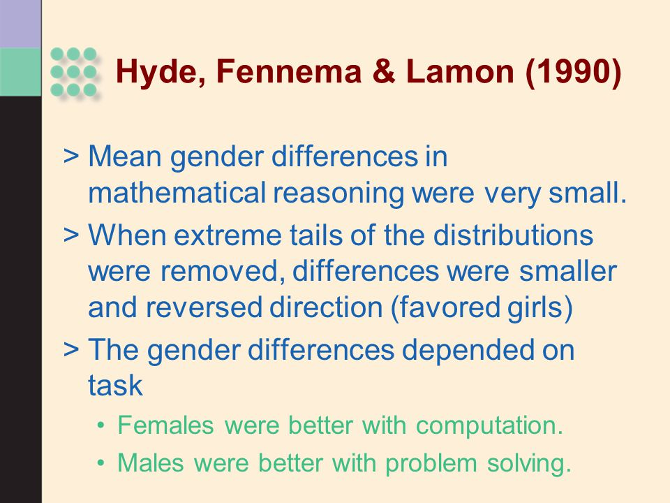 Hyde, Fennema & Lamon (1990) Mean gender differences in mathematical reasoning were very small.
