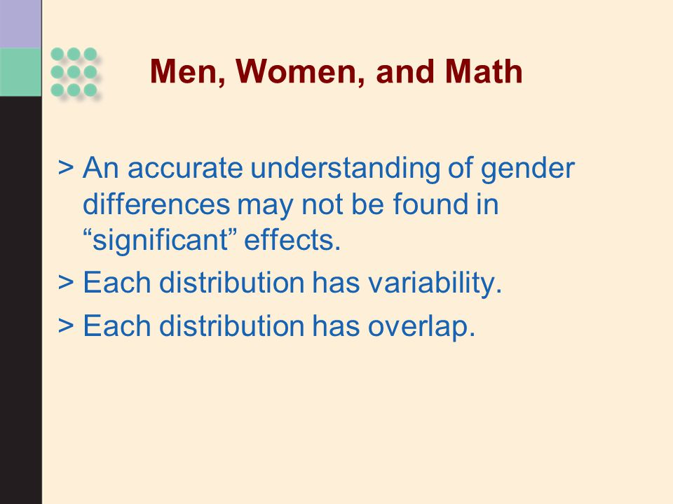 Men, Women, and Math An accurate understanding of gender differences may not be found in significant effects.