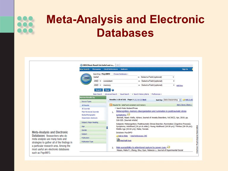 Meta-Analysis and Electronic Databases