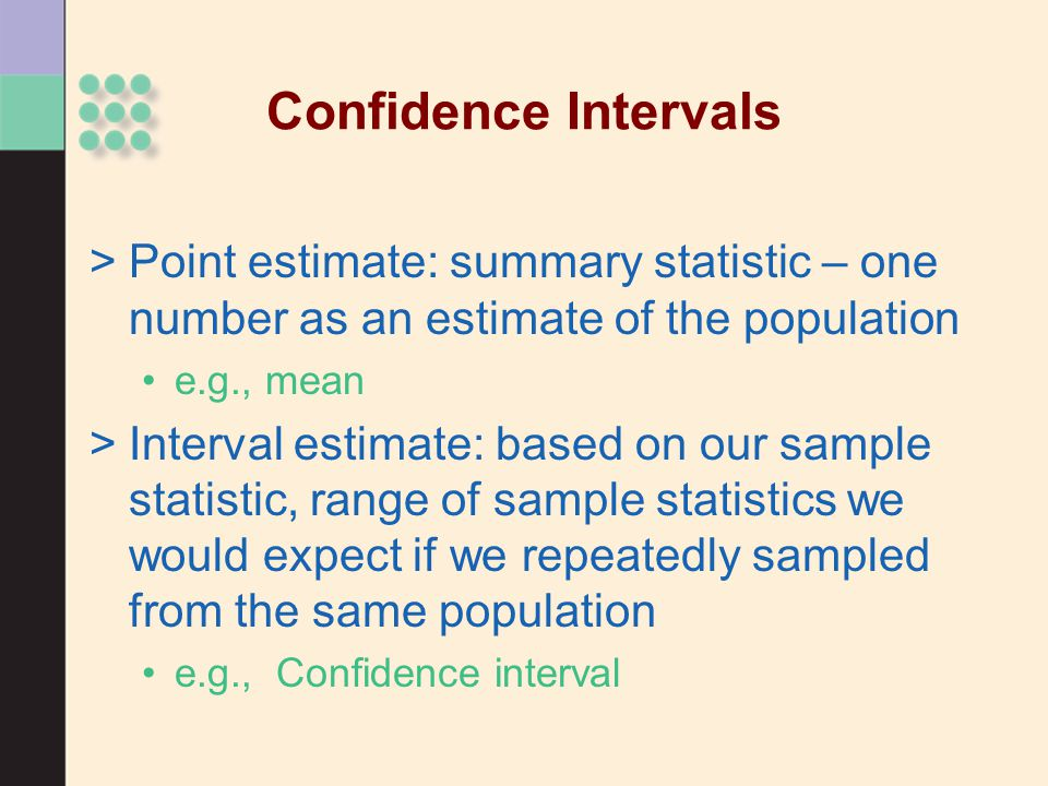 Confidence Intervals Point estimate: summary statistic – one number as an estimate of the population.