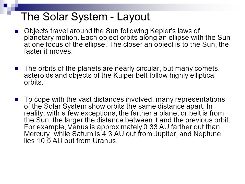 The Solar System - Layout