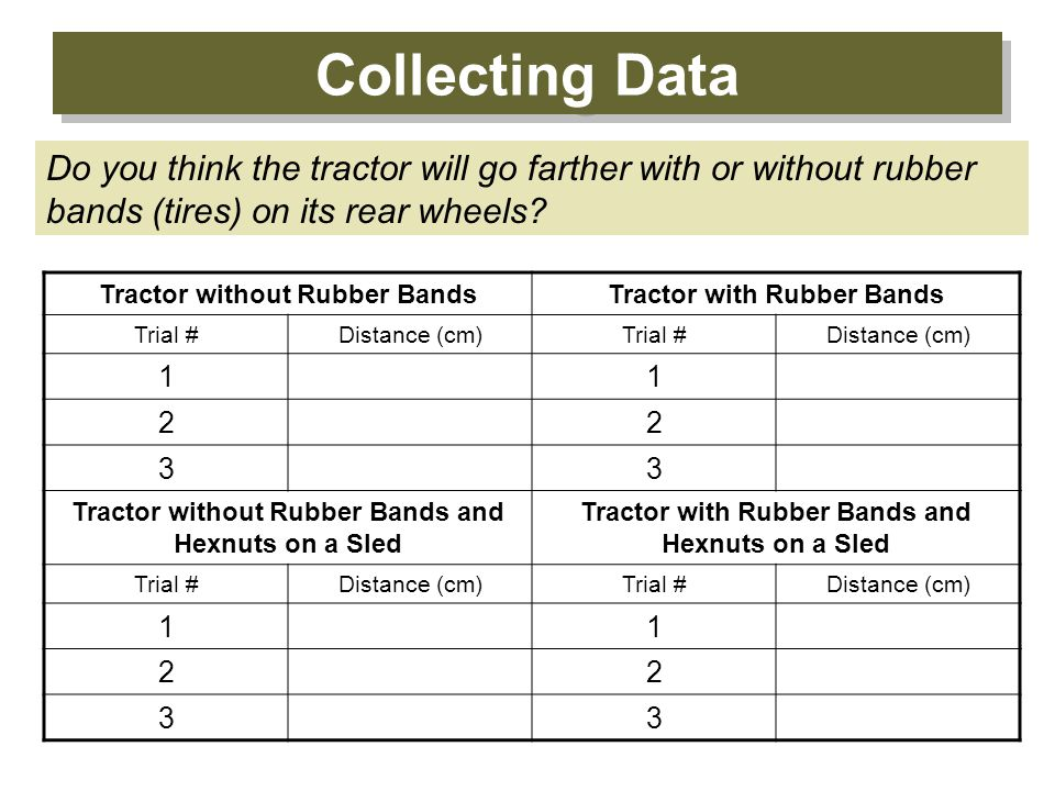 Collecting Data Do you think the tractor will go farther with or without rubber bands (tires) on its rear wheels