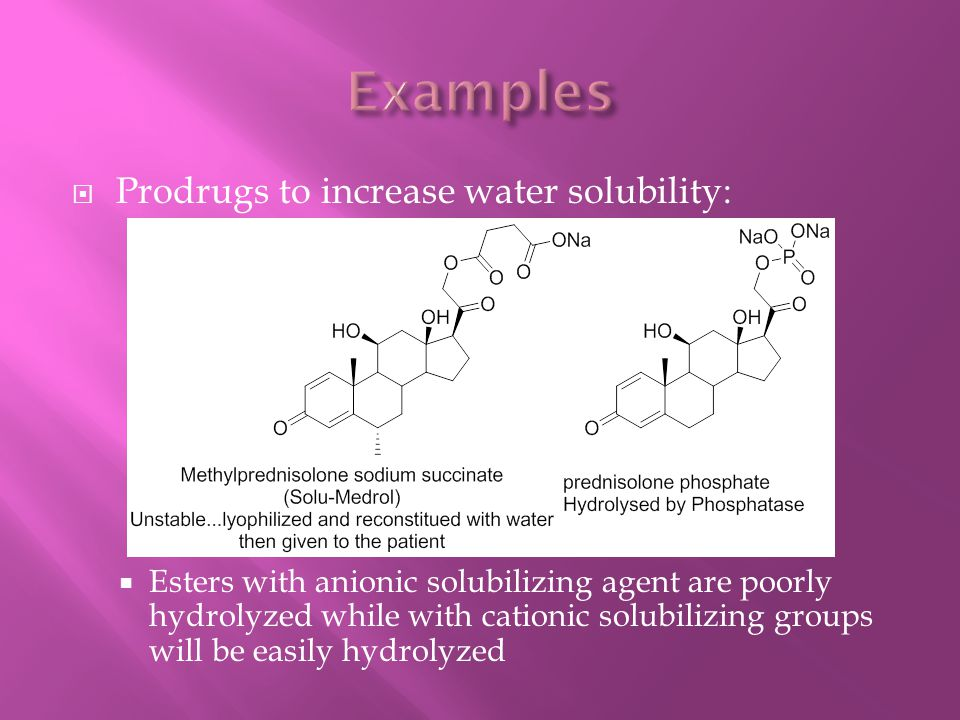 Examples Prodrugs to increase water solubility: