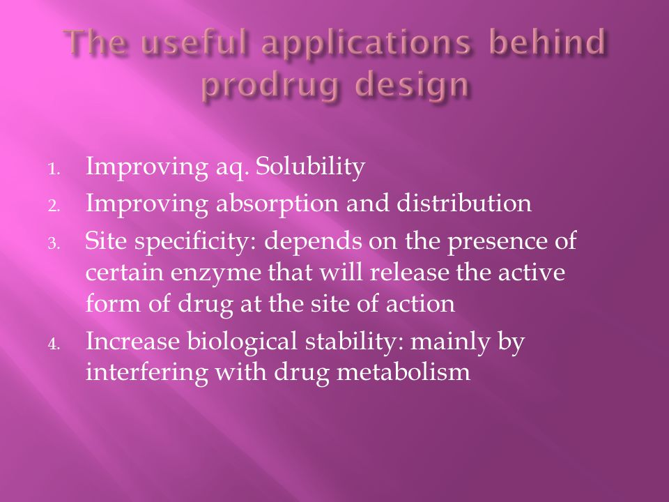 The useful applications behind prodrug design