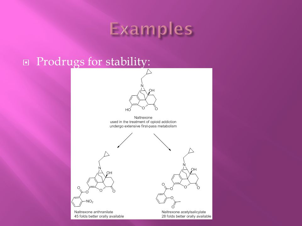 Examples Prodrugs for stability: