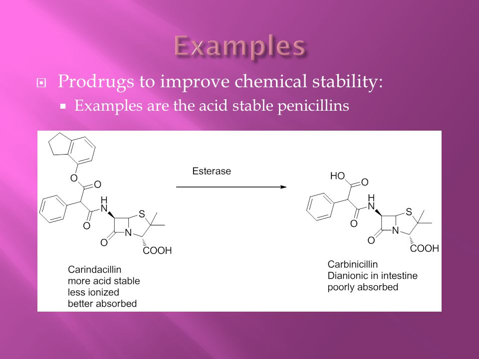 Examples Prodrugs to improve chemical stability: