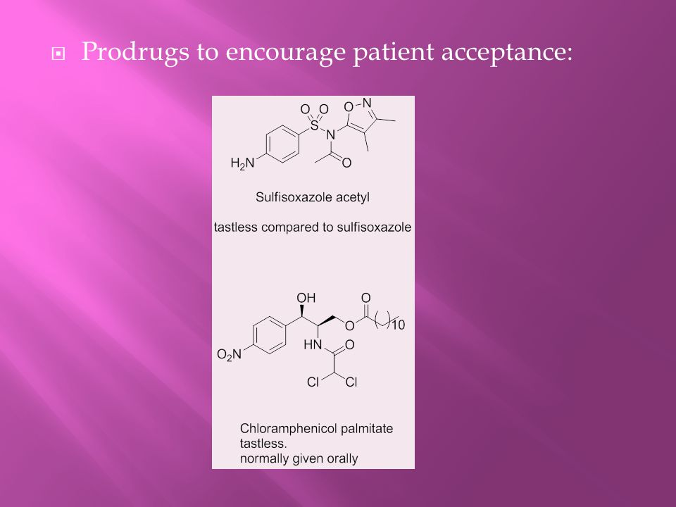 Prodrugs to encourage patient acceptance:
