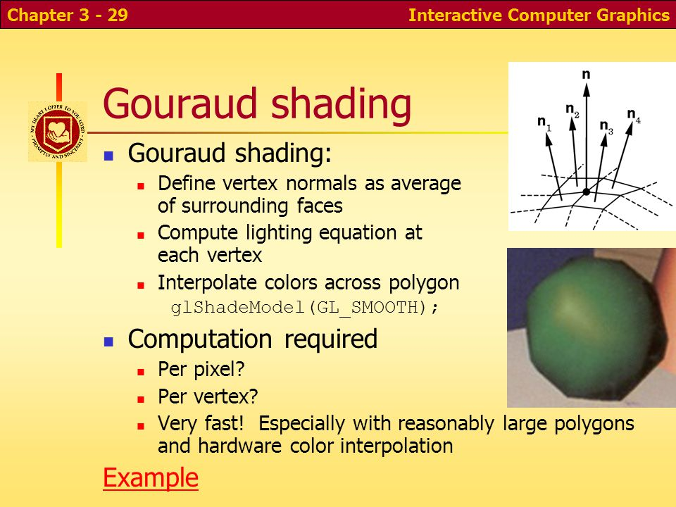 Gouraud shading Gouraud shading: Computation required Example