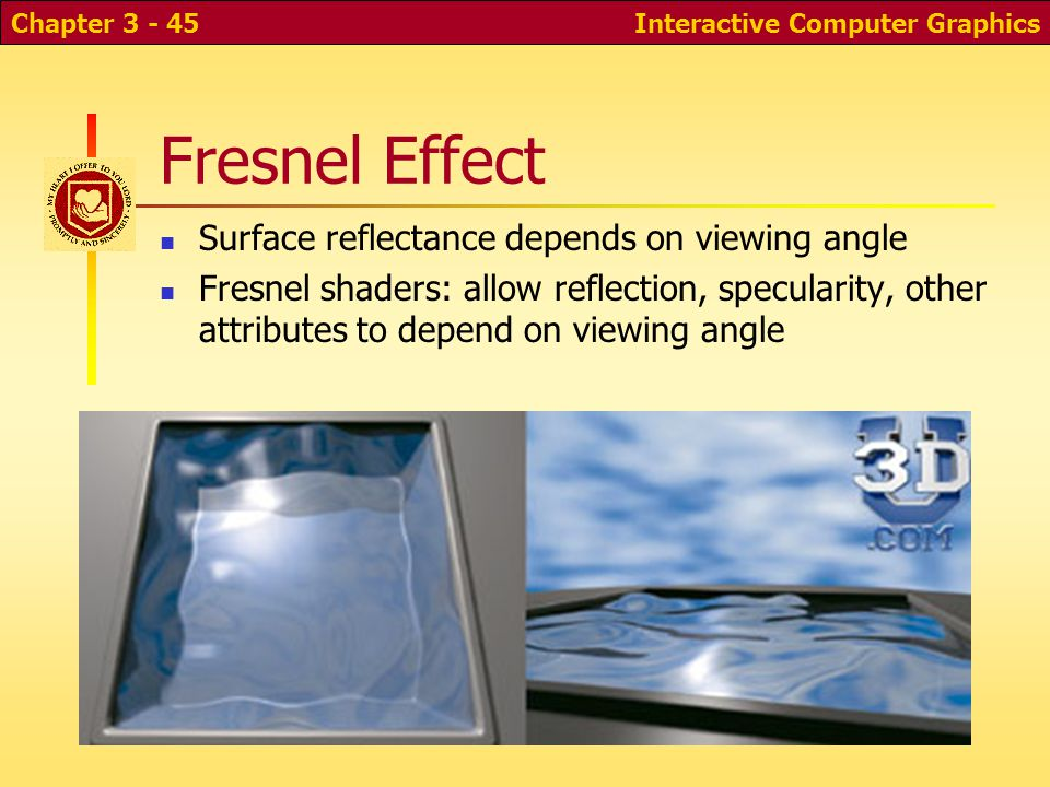 Fresnel Effect Surface reflectance depends on viewing angle
