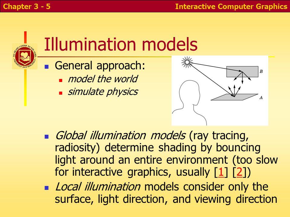 Illumination models General approach: