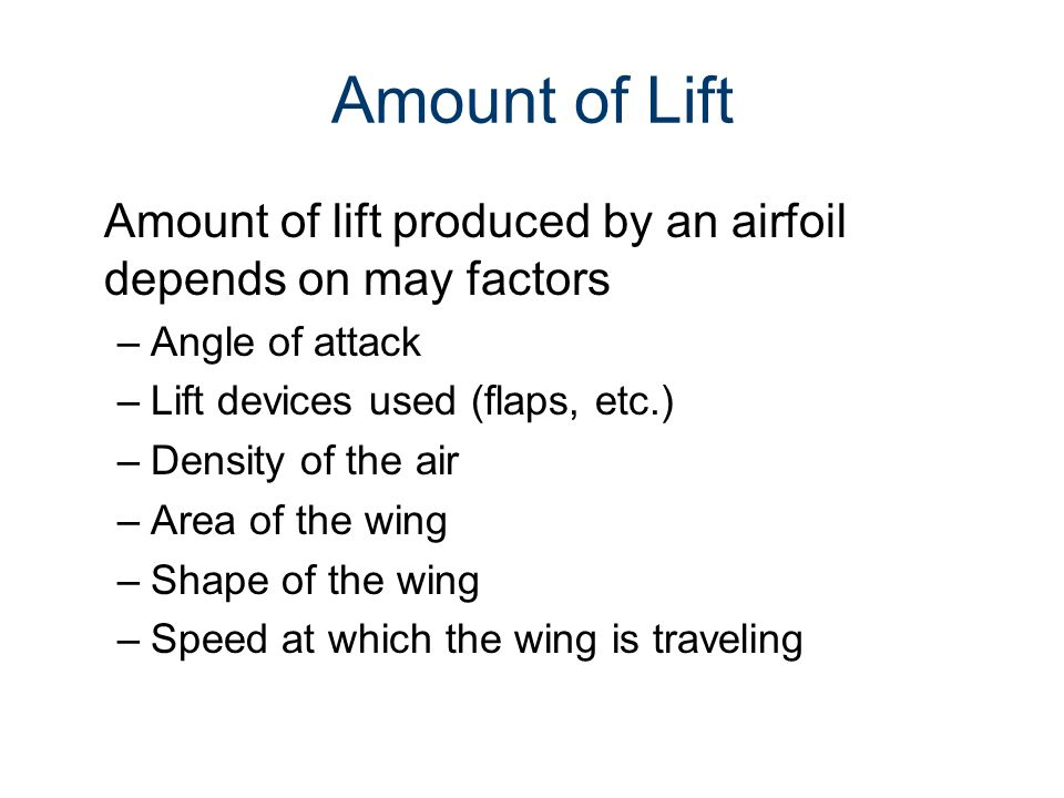 Airfoils and Lift Gateway To Technology® Unit 5 – Lesson 5.2 – Aeronautics. Amount of Lift.