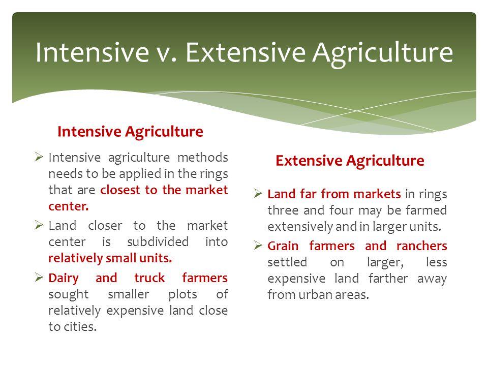 Intensive v. Extensive Agriculture