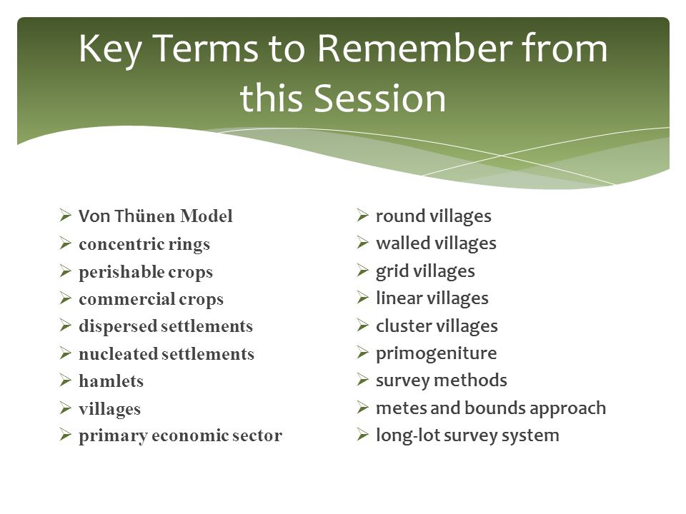 Key Terms to Remember from this Session