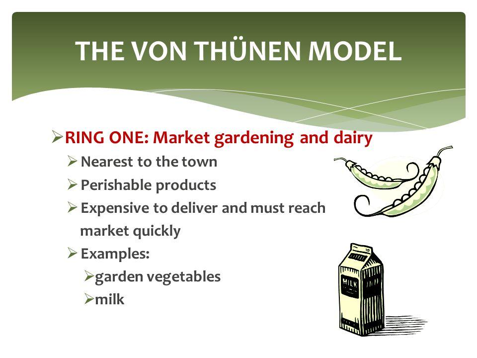 THE VON THÜNEN MODEL RING ONE: Market gardening and dairy