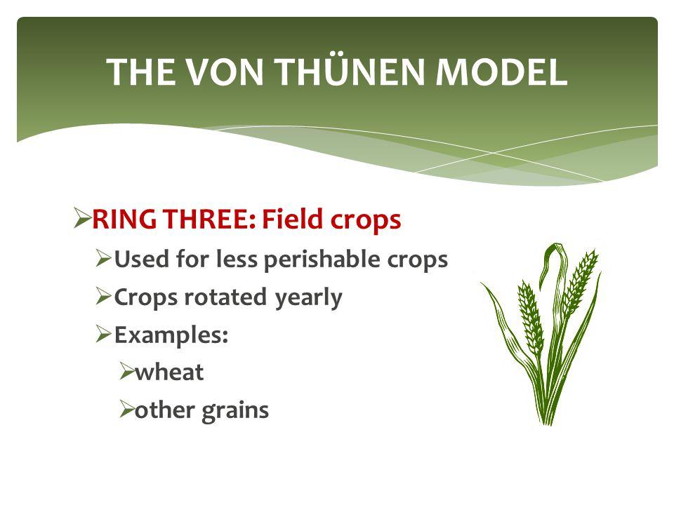 THE VON THÜNEN MODEL RING THREE: Field crops